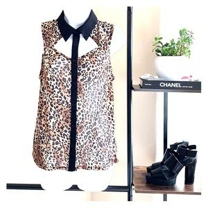 ONE CLOTHING Leopard Cutout Sleeveless Button down
